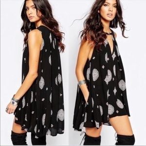 Free People Black Medallion Swing Tunic